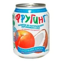 Фрутинг Кореи Персик с кусочками кокоса, 0.238 л (ж/б) [4601801000082]