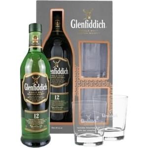 Виски Шотландии Glenfiddich Single Malt 12 yo / Гленфиддик Сингл Молт 12 ео, 0.7 л (под.уп. + 2 бокала) [5010327345819]