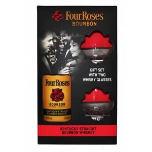 Бурбон США Four Roses с 2-мя бокалами, 40%, 0,7 л [2129907299077]