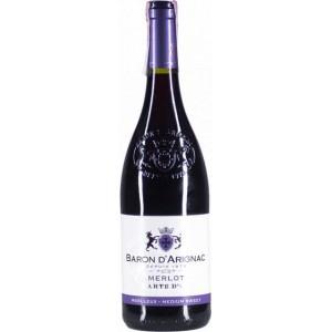 Вино Франции Baron d'Arignac Merlot, Кр, П/Сух, 0.75 л 12% [3263280141109]