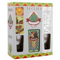 Текила Мексики Messicano Silver / Мессиканo Сильвер, 0.75 л + 2 стакана [6523413533124]