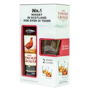 Виски Шотландии Famous Grouse / Феймос Граус, 40%, 0.7 л (в подарочной коробке + 2 бокала) [5010314300173]