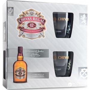 Виски Шотландии Chivas Regal 12 yo / Чивас Ригал 12 ео, 0.7 л + 2 стакана [5000299601884]