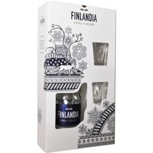Водка Финляндии Finlandia / Финляндия, 40%, 0.7 л, (подарочная упаковка + 2 рюмки) [6412709121773]